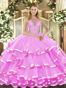 Halter Top Sleeveless Organza Quince Ball Gowns Beading and Ruffled Layers Lace Up