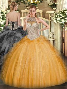 Orange Ball Gowns Halter Top Sleeveless Tulle Floor Length Lace Up Beading and Ruffles 15 Quinceanera Dress