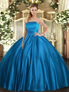 Dazzling Floor Length Blue Vestidos de Quinceanera Satin Sleeveless Ruching
