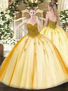 Gold Lace Up Sweetheart Beading 15th Birthday Dress Tulle Sleeveless