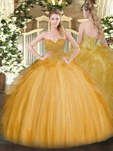Artistic Lace 15 Quinceanera Dress Gold Lace Up Sleeveless Floor Length