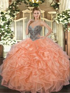 Orange Sleeveless Organza Lace Up 15th Birthday Dress for Military Ball and Sweet 16 and Quinceanera