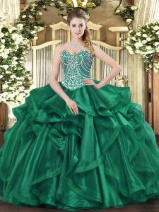 Hot Sale Dark Green Lace Up Quinceanera Dresses Beading and Ruffles Sleeveless Floor Length