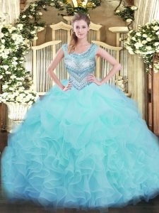 Aqua Blue Ball Gowns Beading and Ruffles and Pick Ups Sweet 16 Dresses Lace Up Organza Sleeveless Floor Length