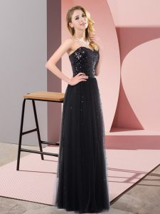 Clearance Black Empire Sweetheart Sleeveless Tulle Floor Length Lace Up Sequins Homecoming Dress