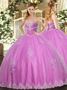 Fine Rose Pink Sweetheart Lace Up Beading and Appliques Sweet 16 Quinceanera Dress Sleeveless