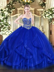 Noble Royal Blue Sweetheart Lace Up Ruffles Quinceanera Gowns Sleeveless