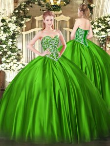 Satin Sweetheart Sleeveless Lace Up Beading Quinceanera Gowns in Green