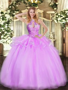 Suitable Lilac Sweet 16 Quinceanera Dress Military Ball and Sweet 16 and Quinceanera with Beading Halter Top Sleeveless Lace Up