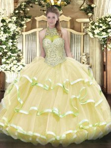 Discount Light Yellow Halter Top Lace Up Beading and Ruffled Layers 15 Quinceanera Dress Sleeveless