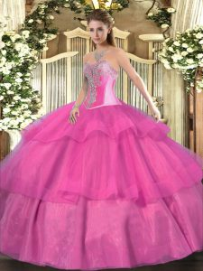 Hot Pink Ball Gowns Tulle Sweetheart Sleeveless Beading and Ruffled Layers Floor Length Lace Up 15th Birthday Dress