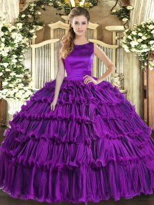 Eggplant Purple Scoop Lace Up Ruffled Layers Quince Ball Gowns Sleeveless