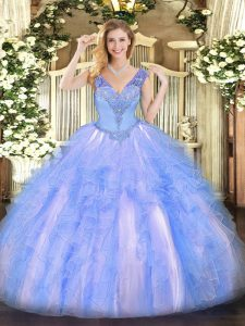 Beading and Ruffles Quinceanera Gown Light Blue Lace Up Sleeveless Floor Length