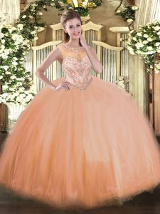Chic Floor Length Peach Sweet 16 Dress Tulle Sleeveless Beading