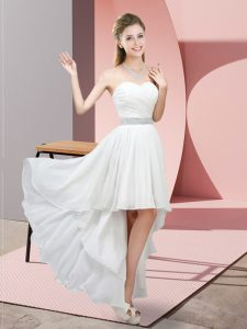 Attractive White Chiffon Lace Up Prom Dresses Sleeveless High Low Beading