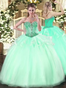 Fashion Apple Green Lace Up Quinceanera Dresses Beading Sleeveless Floor Length