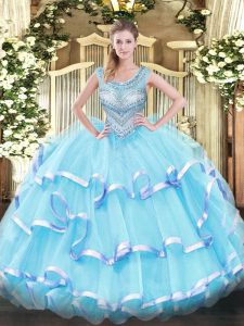 Attractive Aqua Blue Organza Lace Up Scoop Sleeveless Floor Length Quinceanera Gowns Beading and Ruffled Layers