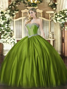 Floor Length Olive Green 15 Quinceanera Dress Sweetheart Sleeveless Lace Up