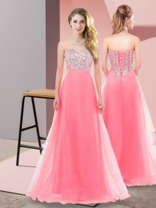 Watermelon Red Tulle Lace Up Prom Dresses Sleeveless Floor Length Beading