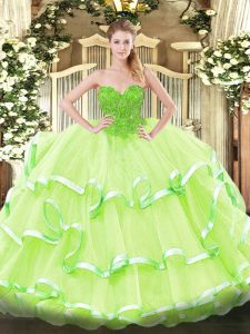 Most Popular Yellow Green Organza Lace Up Sweetheart Sleeveless Floor Length 15 Quinceanera Dress Lace