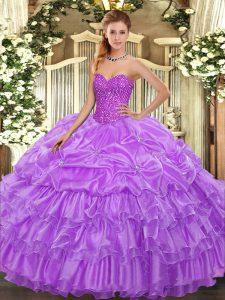 Floor Length Lavender Quince Ball Gowns Organza Sleeveless Beading and Ruffled Layers and Pick Ups