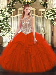 Tulle Scoop Sleeveless Lace Up Beading and Ruffles 15 Quinceanera Dress in Red