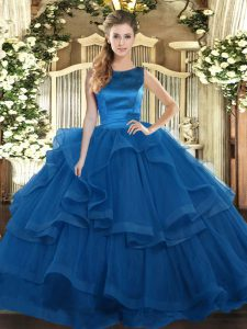Designer Blue Tulle Lace Up Quince Ball Gowns Sleeveless Floor Length Ruffles