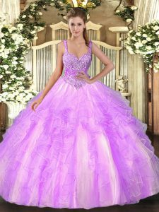 Amazing Lilac Straps Lace Up Beading and Ruffles Ball Gown Prom Dress Sleeveless
