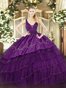 Fantastic Straps Sleeveless Ball Gown Prom Dress Floor Length Embroidery and Ruffled Layers Purple Organza and Taffeta