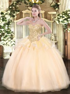 Sweetheart Sleeveless Organza Quinceanera Dresses Appliques Lace Up