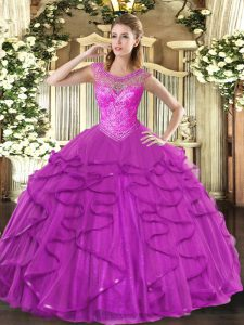 Fuchsia Tulle Lace Up Sweetheart Sleeveless Floor Length Sweet 16 Dresses Beading and Ruffles