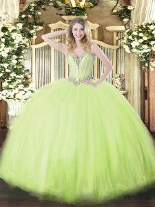Comfortable Yellow Green Ball Gowns Beading 15th Birthday Dress Lace Up Tulle Sleeveless Floor Length