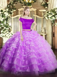 Pretty Off The Shoulder Short Sleeves Quinceanera Dress Floor Length Appliques and Ruffled Layers Lilac Tulle
