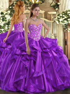 Custom Fit Eggplant Purple Ball Gowns Sweetheart Sleeveless Organza Floor Length Lace Up Embroidery and Ruffles Casual Dresses