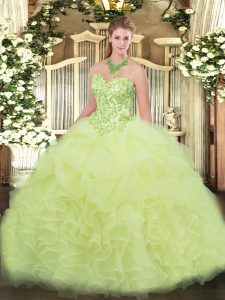 Amazing Yellow Green Lace Up Quinceanera Dresses Appliques and Ruffles Sleeveless Floor Length