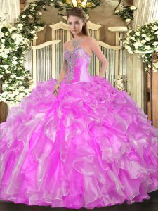 Comfortable Organza Sleeveless Floor Length 15 Quinceanera Dress and Beading and Ruffles