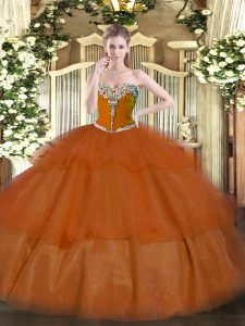 Elegant Sleeveless Floor Length Beading and Ruffled Layers Lace Up 15th Birthday Dress with Rust Red