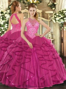 Stunning Hot Pink Sleeveless Beading and Ruffles Floor Length Quinceanera Dress