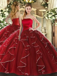 Artistic Wine Red Sleeveless Tulle Lace Up Sweet 16 Dress for Military Ball and Sweet 16 and Quinceanera