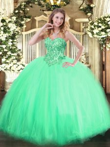 Tulle Sweetheart Sleeveless Lace Up Appliques Sweet 16 Dresses in Apple Green