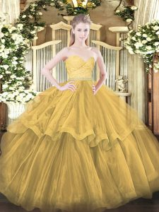 Beauteous Sweetheart Sleeveless Sweet 16 Dresses Brush Train Beading and Lace and Ruffled Layers Gold Tulle