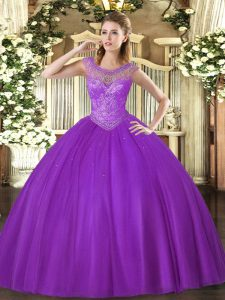 Scoop Sleeveless Tulle Vestidos de Quinceanera Beading Lace Up