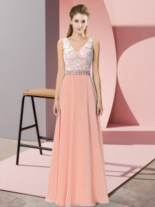 On Sale Floor Length Empire Sleeveless Peach Dress for Prom Backless