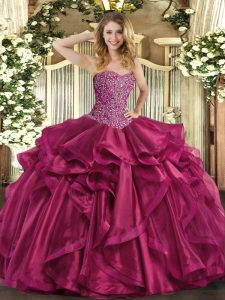 Sleeveless Floor Length Beading and Ruffles Lace Up Quinceanera Gowns with Wine Red