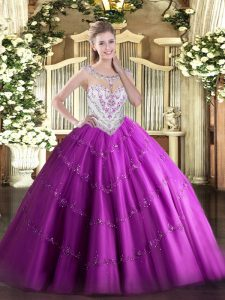 Floor Length Zipper Sweet 16 Dresses Fuchsia for Military Ball and Sweet 16 and Quinceanera with Beading and Appliques