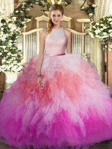 Cute Ball Gowns Sweet 16 Dresses Multi-color High-neck Tulle Sleeveless Floor Length Backless