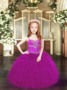 Ball Gowns Little Girls Pageant Dress Fuchsia Spaghetti Straps Organza Sleeveless Floor Length Lace Up
