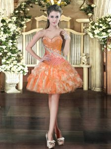Modern Orange Sleeveless Organza Lace Up Dress for Prom for Prom and Party