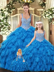 Great Teal Lace Up Scoop Beading and Ruffles Quinceanera Gowns Tulle Sleeveless