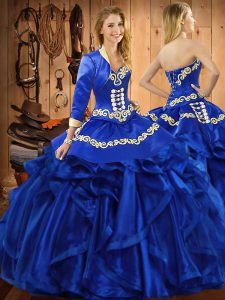Sweet Ball Gowns Sweet 16 Dress Royal Blue Sweetheart Organza Sleeveless Floor Length Lace Up